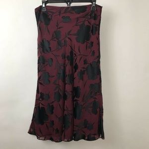 The Limited A Line Skirt Burgundy Black Floral 10
